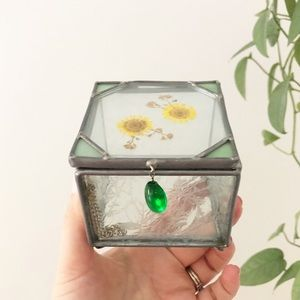 Pressed Flower Stained Glass Trinket Jewelry Box